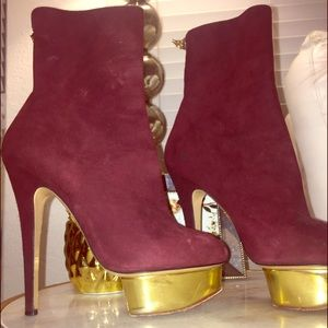 Charlotte Olympia suede plum  booties*** authentic